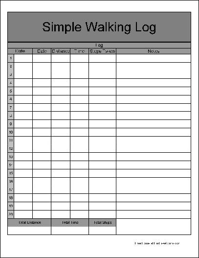 photo relating to Printable Walking Log called Cost-free Numbered Extensive Row Basic Strolling Log