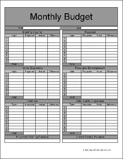 Free Fancy Numbered Row and Sections Detailed Monthly Budget – Budget Form
