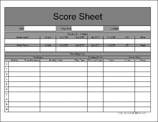 Scoresheet Of Football Image Gallery - Hcpr