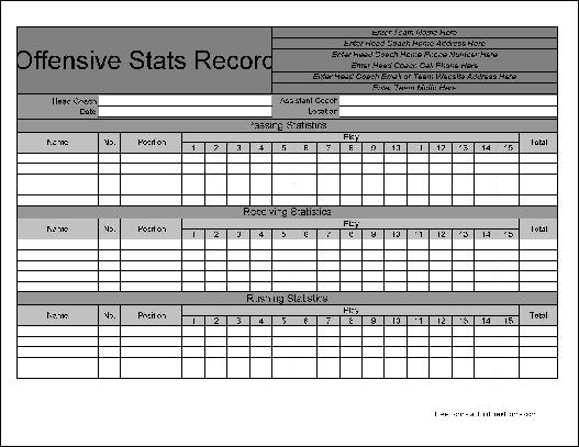 ... Stat Sheet Free personalized football offensive statistics form