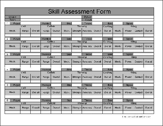 Free Numbered Row Skill Assessment